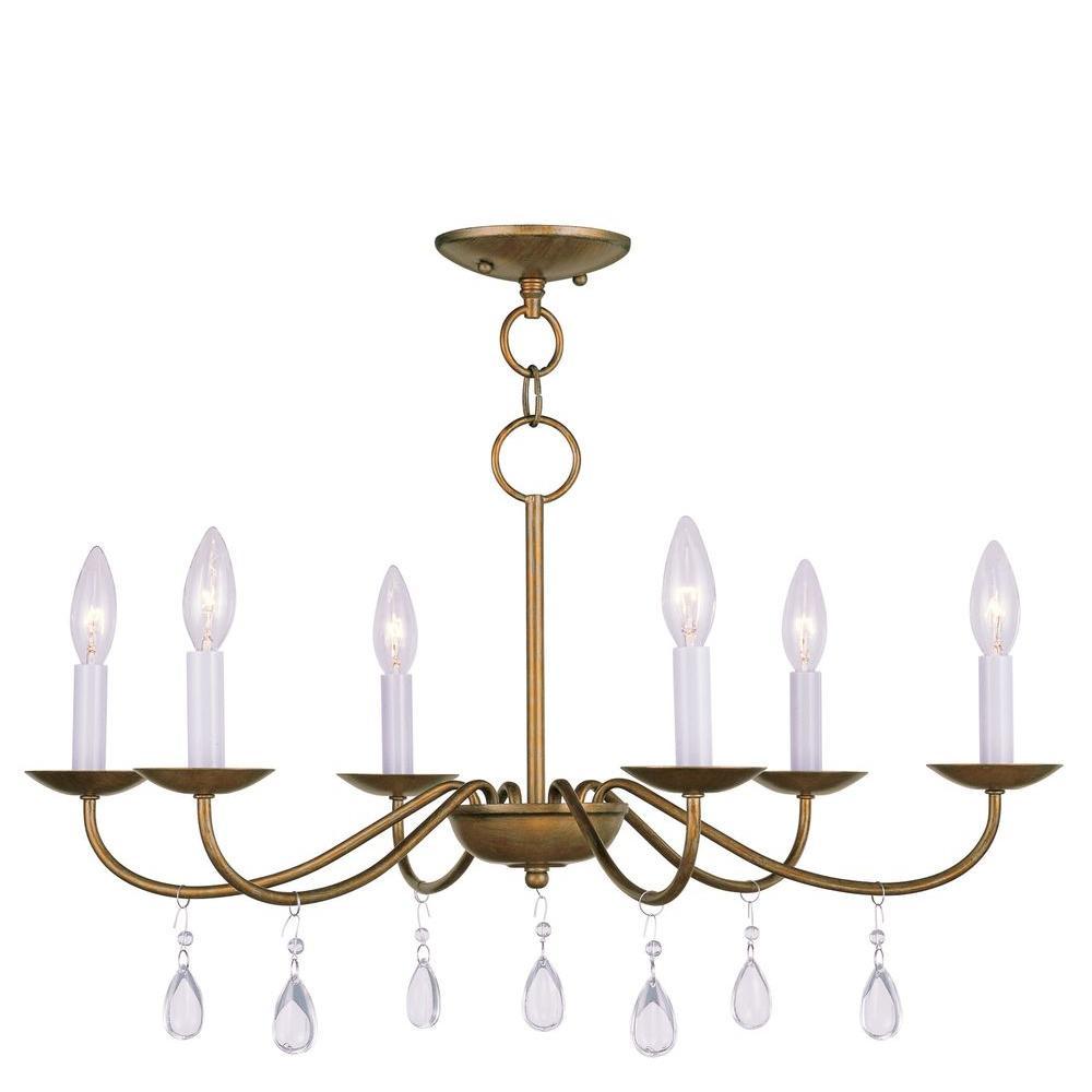Livex Lighting Providence 6-Light Antique Gold Leaf Incandescent Ceiling Chandelier