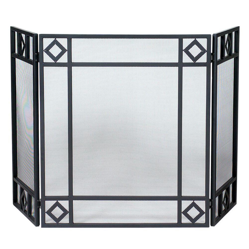 uniflame black wrought iron 3 panel fireplace screen with diamond