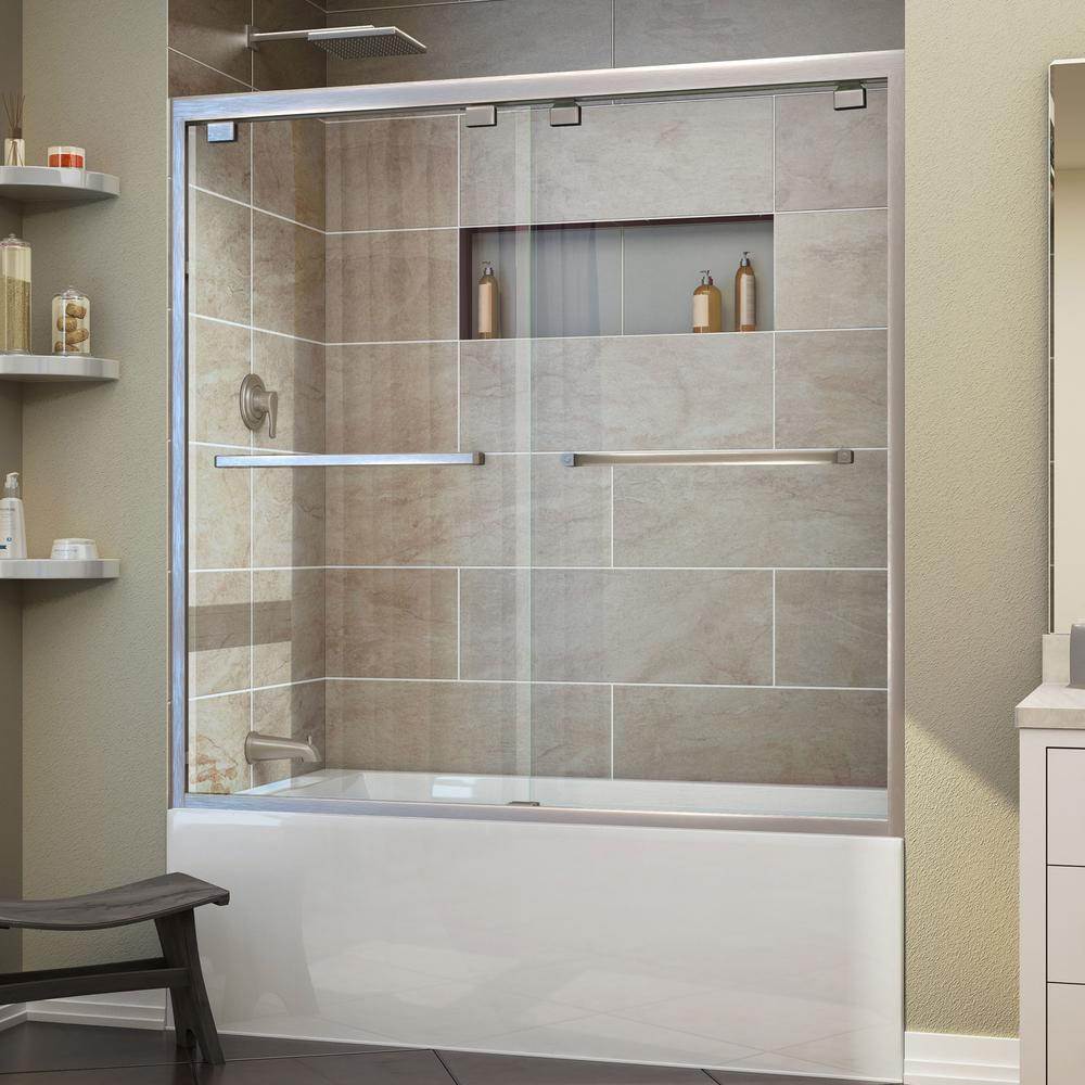 DreamLine Encore 56 in. to 60 in. x 58 in. Framed Bypass Tub Door in Brushed Nickel-SHDR-1660580-04 - The Home Depot & DreamLine Encore 56 in. to 60 in. x 58 in. Framed Bypass Tub Door ... pezcame.com