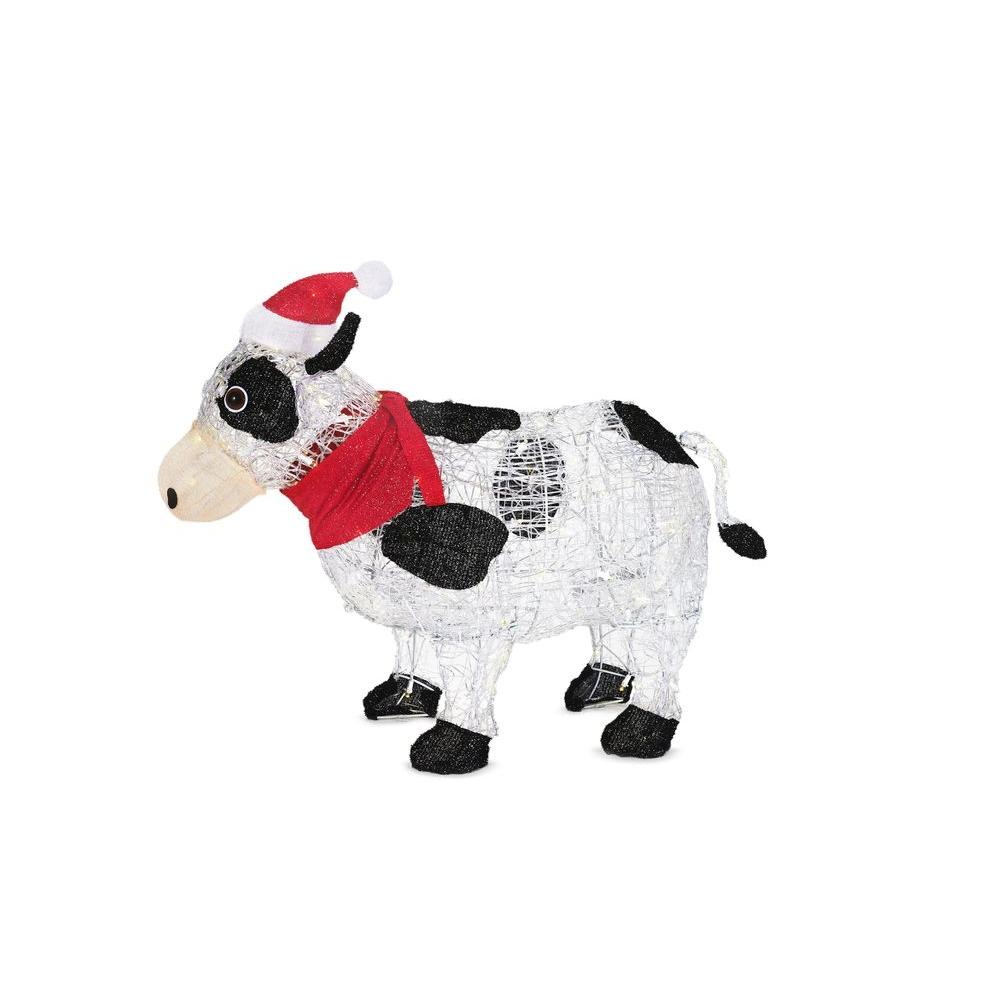 Home Accents Holiday 36 in. Pre-Lit Cow with Santa Hat-TY294-1311-1 ...