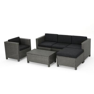Puerta Mixed Black 6-Piece Wicker Outdoor Sectional Set with Dark Grey Cushions