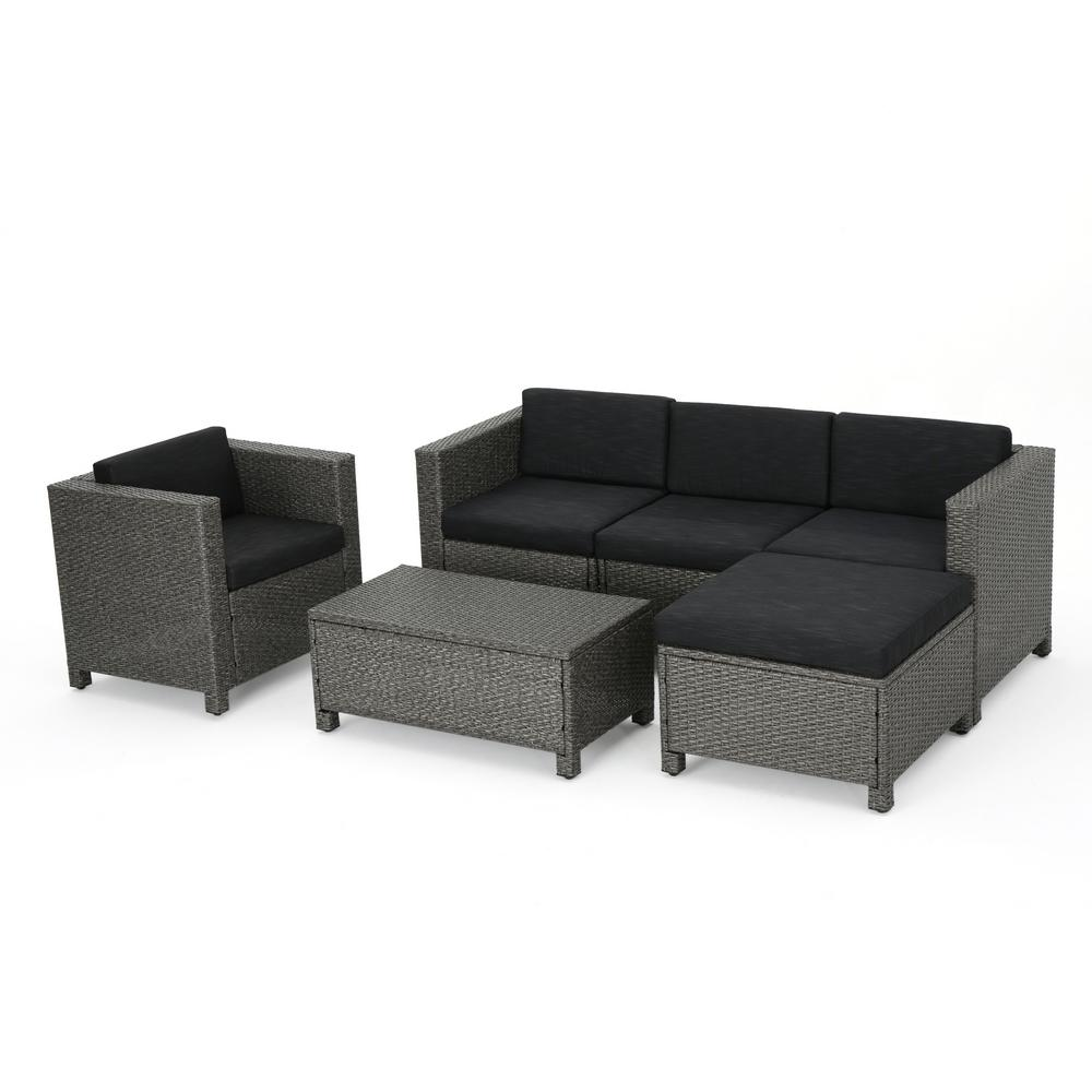 Noble House Puerta Mixed Black 6-Piece Wicker Outdoor Sectional Set with  Dark Grey Cushions