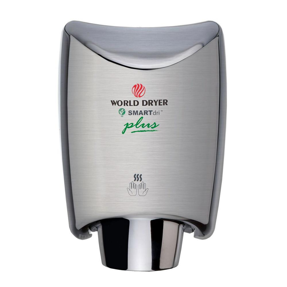 World Dryer SMARTdri Plus Hand Dryer in Brushed Chrome SMARTdri is the most energy efficient, and fastest hygienic hand dryer. SMARTdri is designed to optimize dry time, energy consumption and sound quality. The intelligent, flexible controls allow customizing of air flow, sound quality and heating options to fit any application environments. Color: Brushed Chrome.