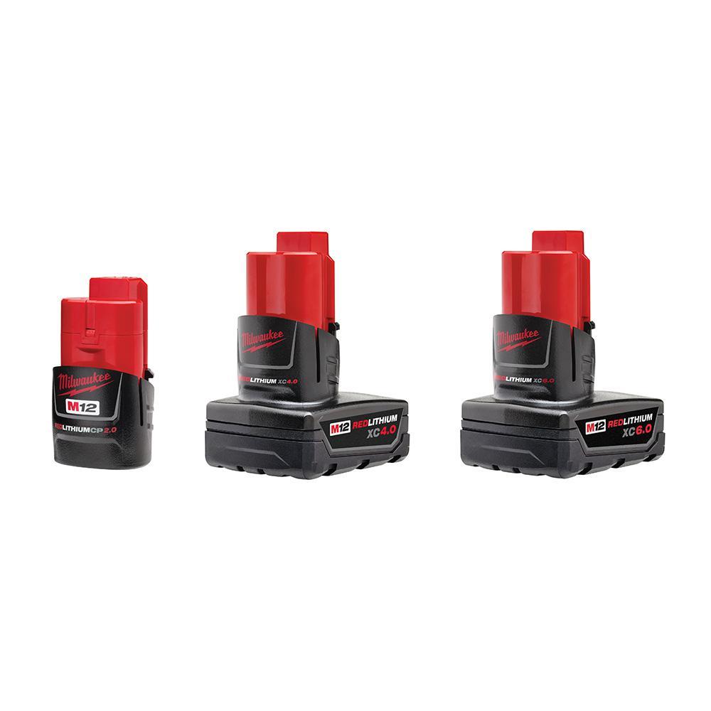 M12 12-Volt Lithium-Ion 6 Ah/4 Ah/2 Ah Extended Capacity Battery Packs (3-Batteries)