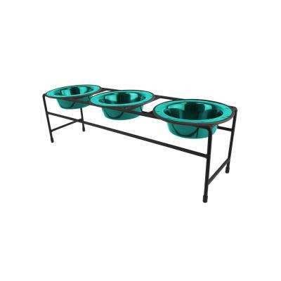 1.25 Cup Triple Modern Diner Feeder with Dog/Cat Bowls, Caribbean Teal
