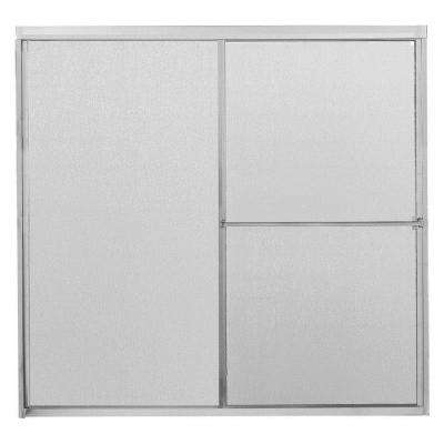 60 in. x 56-3/4 in. Framed Sliding Bathtub Door in Chrome with Rain Glass