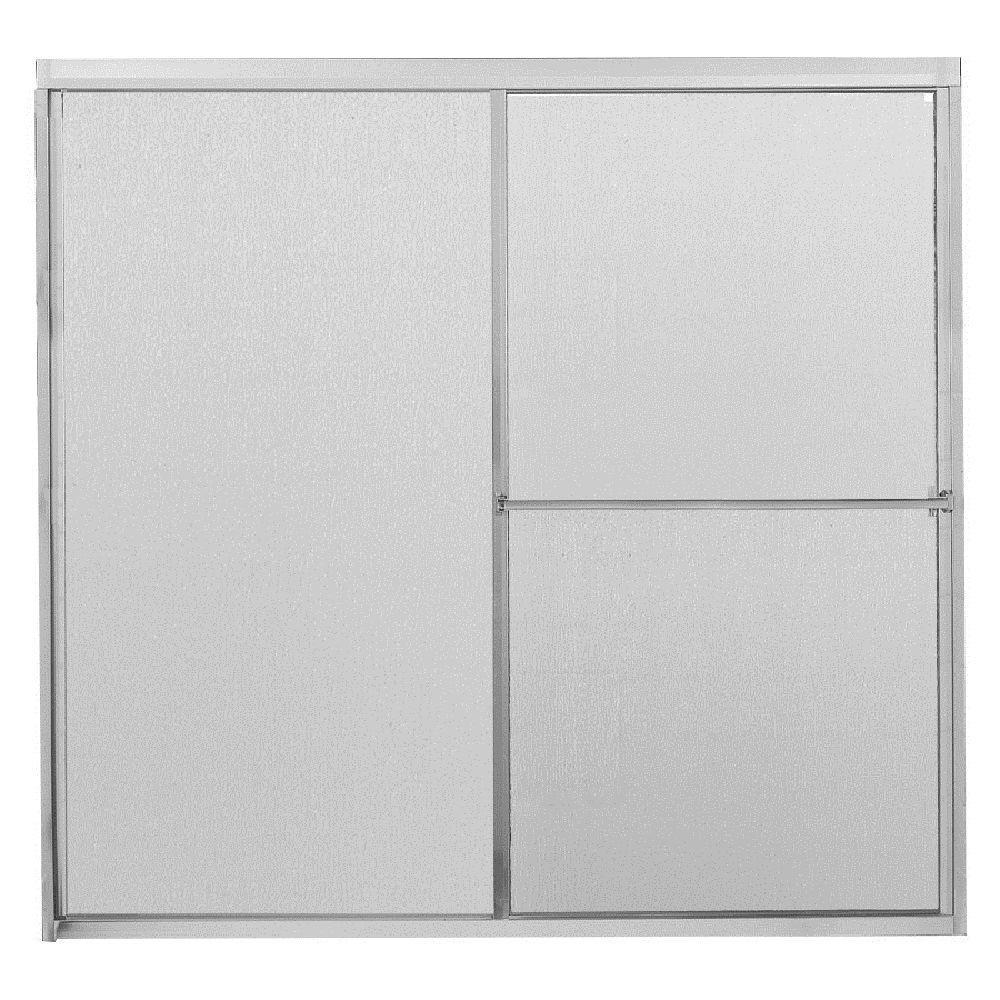 60 in. x 56-3/4 in. Framed Sliding Bathtub Door in Chrome with Rain Glass