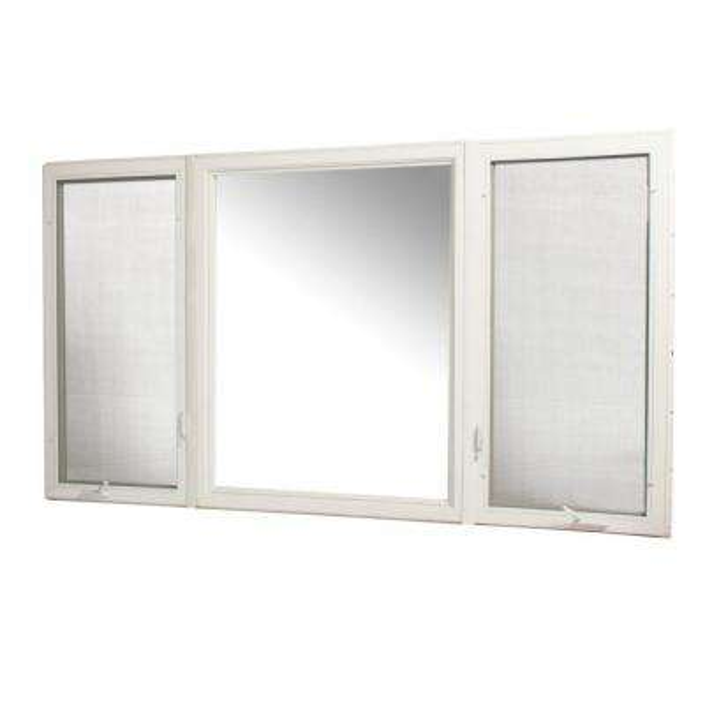 107 in. x 60 in. Vinyl Casement Window with Screen - White