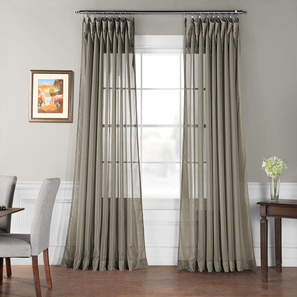 Exclusive Fabrics Furnishings Signature Double Wide Museum Grey Sheer Curtain 100 In W