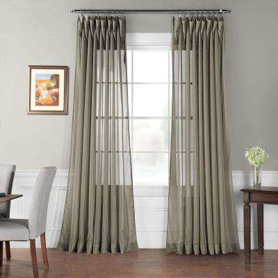 Signature Double Wide Museum Grey Sheer Curtain - 100 in. W x 96 in. L
