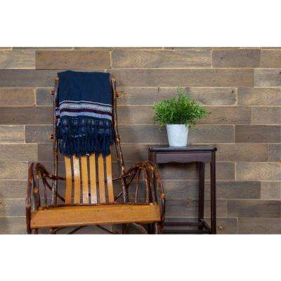 30 Sq Ft 5 1/2 in. Width Weathered Grey Reclaimed Barn Wood Planks With Peel and Stick Adhesive Strips Wall Applique