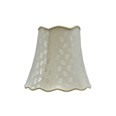 16 in. x 15 in. Butter Creme and Leaf Design and Creme Braided Trim Scallop Bell Lamp Shade