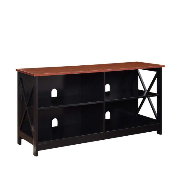 Oxford 16 in. Black and Cherry MDF TV Stand Fits TVs Up to 50 in. with Cable Management