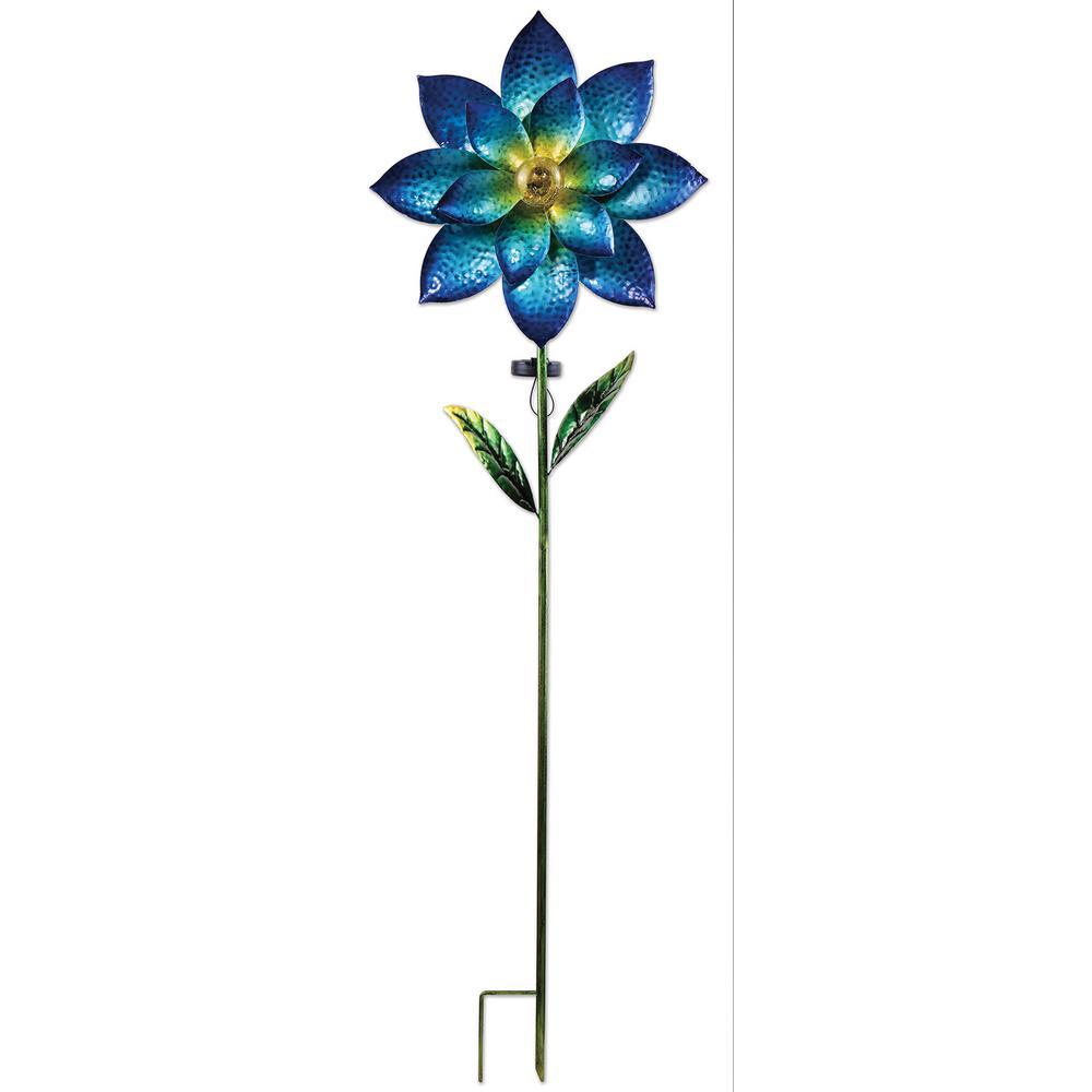 57 in. Blue Flower Solar Spinner