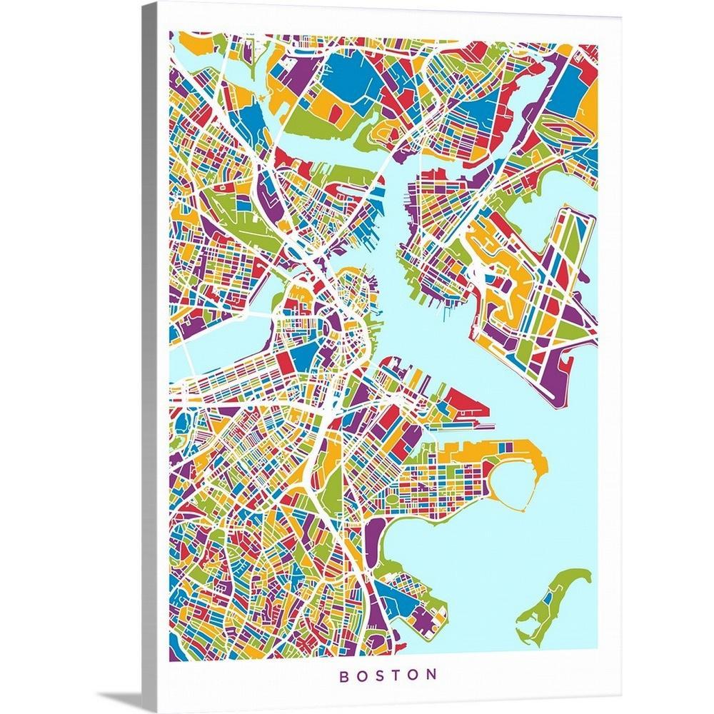 Greatbigcanvas 18 In X 24 In Boston Massachusetts Street Map By