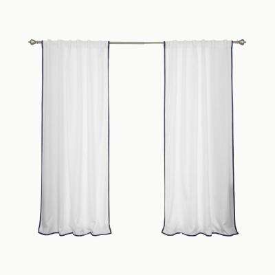 Oxford Outdoor 52 in. W x 96 in. L Small Navy Border Curtains in White (2-Pack)