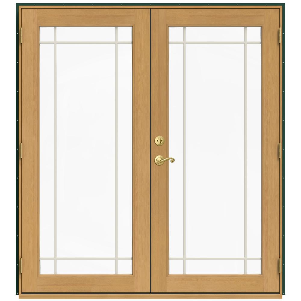 Jeld wen 71 5 in x 79 5 in w 2500 hartford green left for Jeld wen exterior french doors