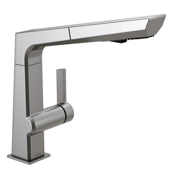 Pivotal Single-Handle Pull-Out Sprayer Kitchen Faucet in Arctic Stainless