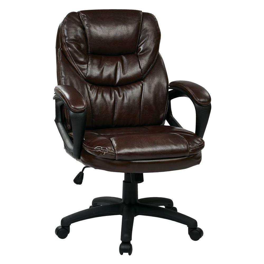 Work Smart Chocolate Faux Leather Manager Office Chair