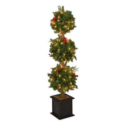 Christmas Topiary Decor.4 Ft Pre Lit Winslow Fir Potted Artificial Christmas Topiary Tree With 490 Tips And 150 Clear Lights