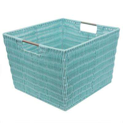 Intricate Decorative Weave 13 in. x 10 in. Turquoise Basket
