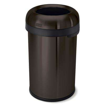 80-Liter/21 Gal. Dark Bronze Heavy-Gauge Stainless Steel Bullet Round Open Top Commercial Trash Can
