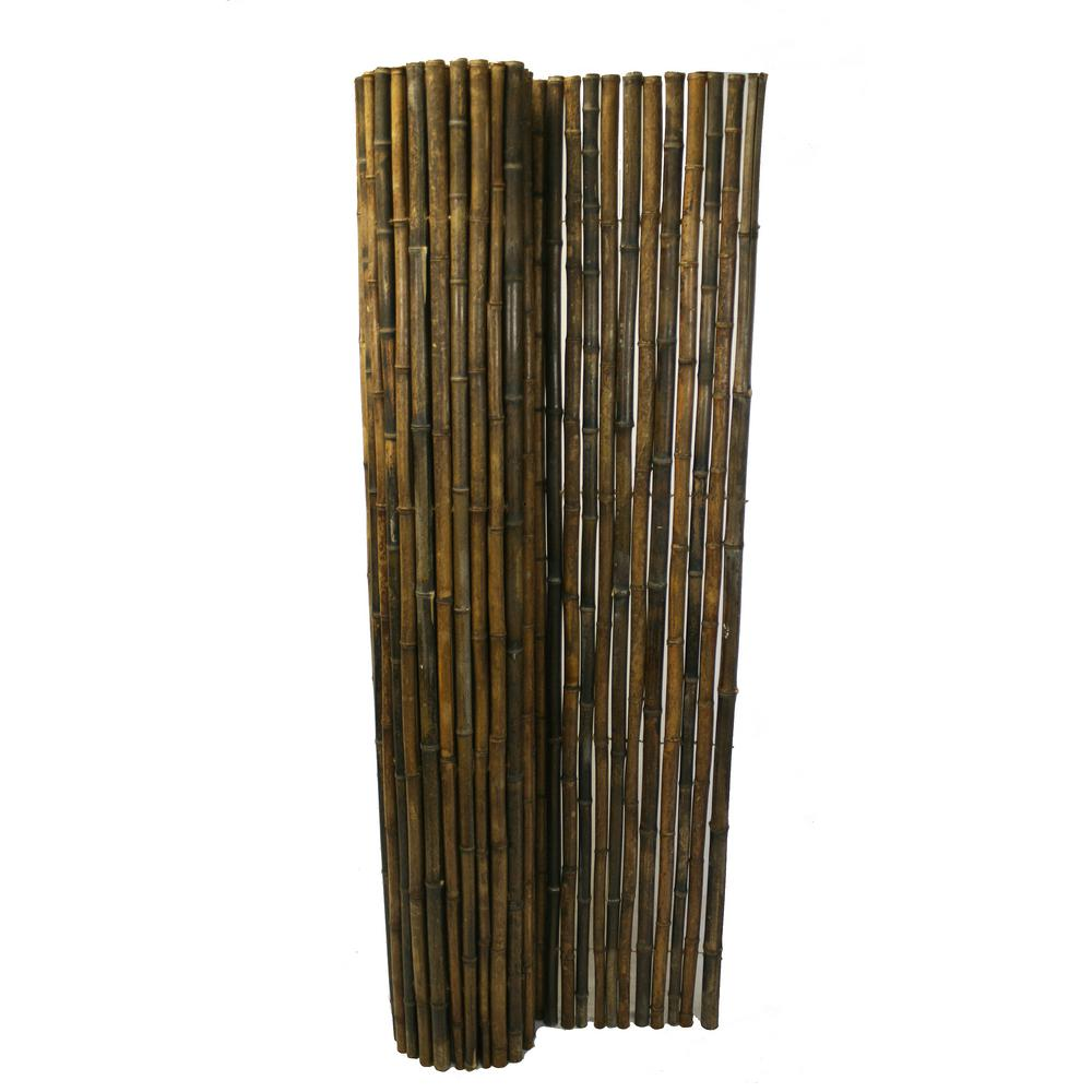 Backyard X-Scapes 1 in  D x 3 ft  H x 8 ft  W Black Rolled Bamboo Fence