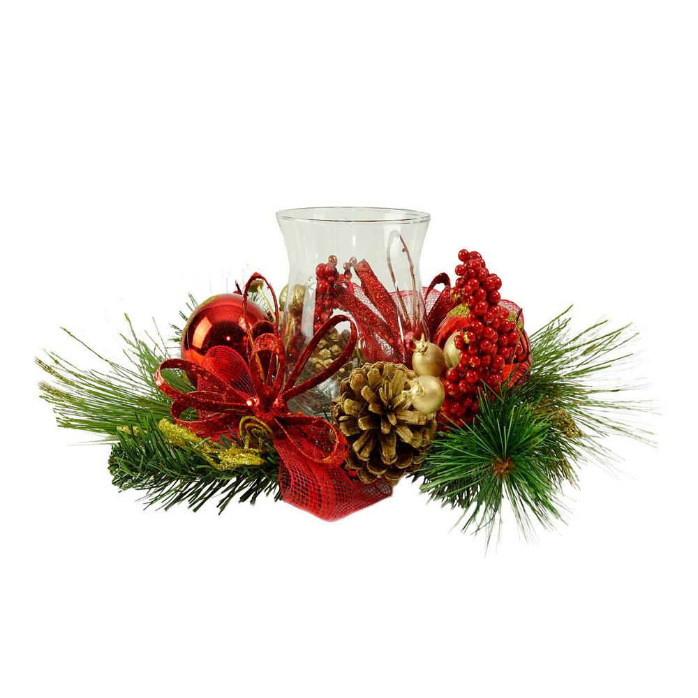 16 in. Red Ornament and Berry Gold Glittered Christmas Hurricane Pillar