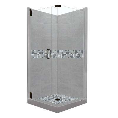 Newport Grand Hinged 36 in. x 36 in. x 80 in. Left-Hand Corner Shower Kit in Wet Cement and Black Pipe Hardware