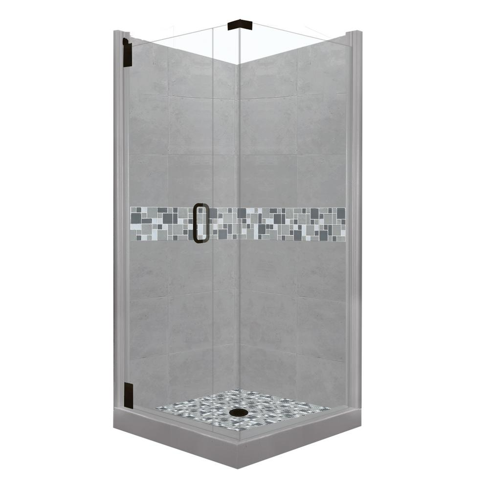 American Bath Factory Newport Grand Hinged 38 in. x 38 in. x 80 in. Left-Hand Corner Shower Kit in Wet Cement and Black Pipe Hardware