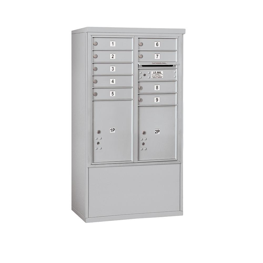 3900 Horizontal Series 9-Compartment 2-Parcel Locker Free Standing Mailbox
