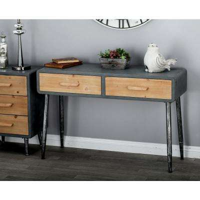 Gray Rectangular 2-Drawer Console Table