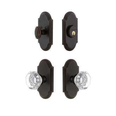 Arc Plate 2-3/8 in. Backset Timeless Bronze Chambord Crystal Door Knob with Single Cylinder Deadbolt