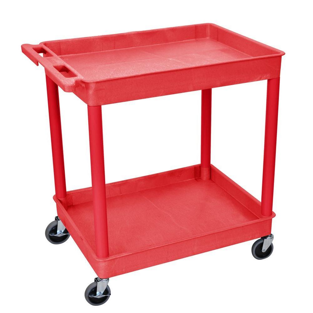 24 in. x 32 in. 2-Tub Shelf Utility Cart, Red