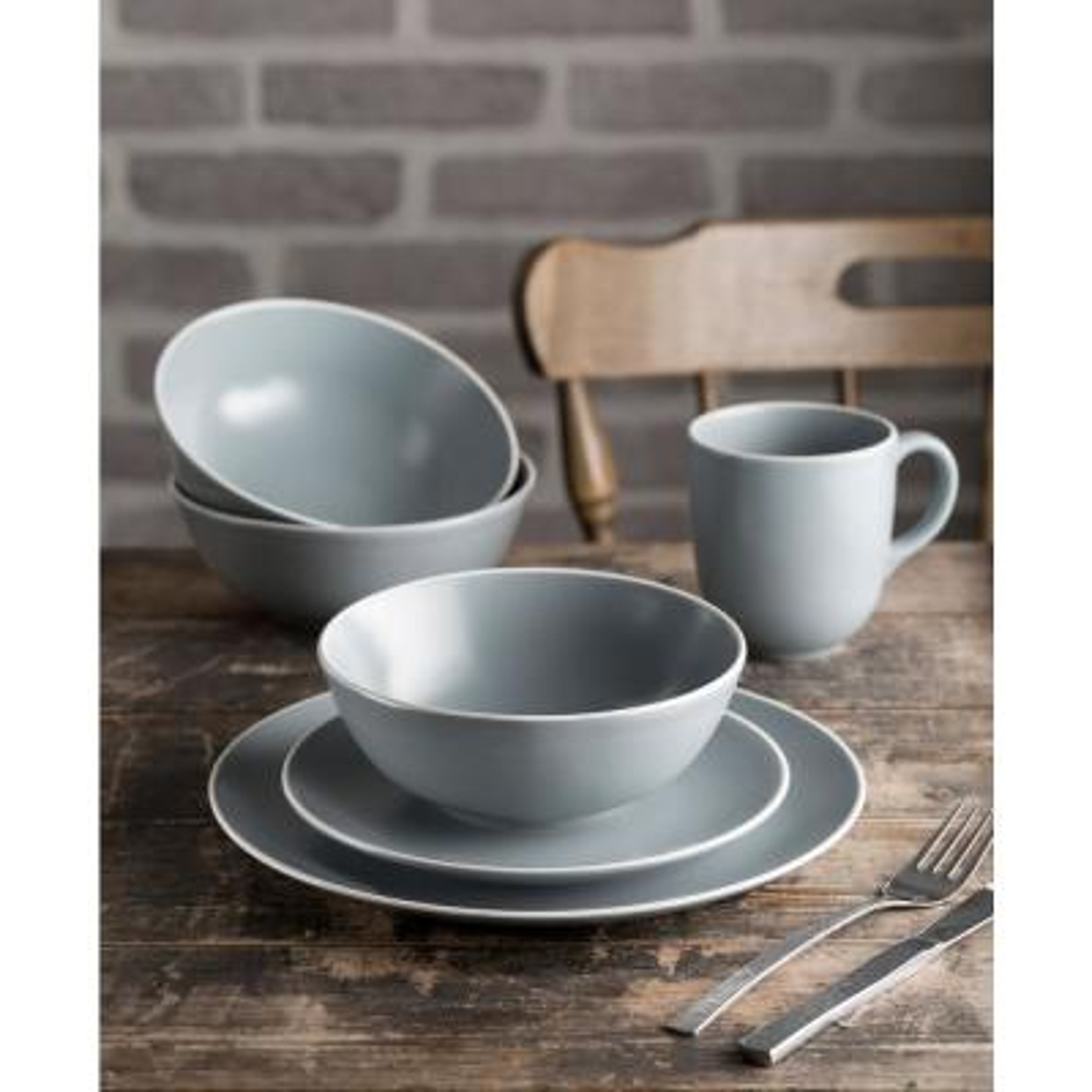Classic 12-Piece Gray Stoneware Dinnerware Set