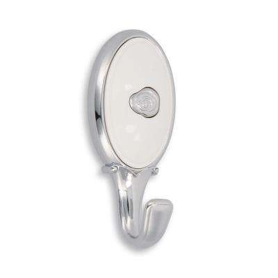 Roslin 3.05 in. Center-to-Center 0.95 in. Bright Chrome and White Wall Mounted Wall Hook