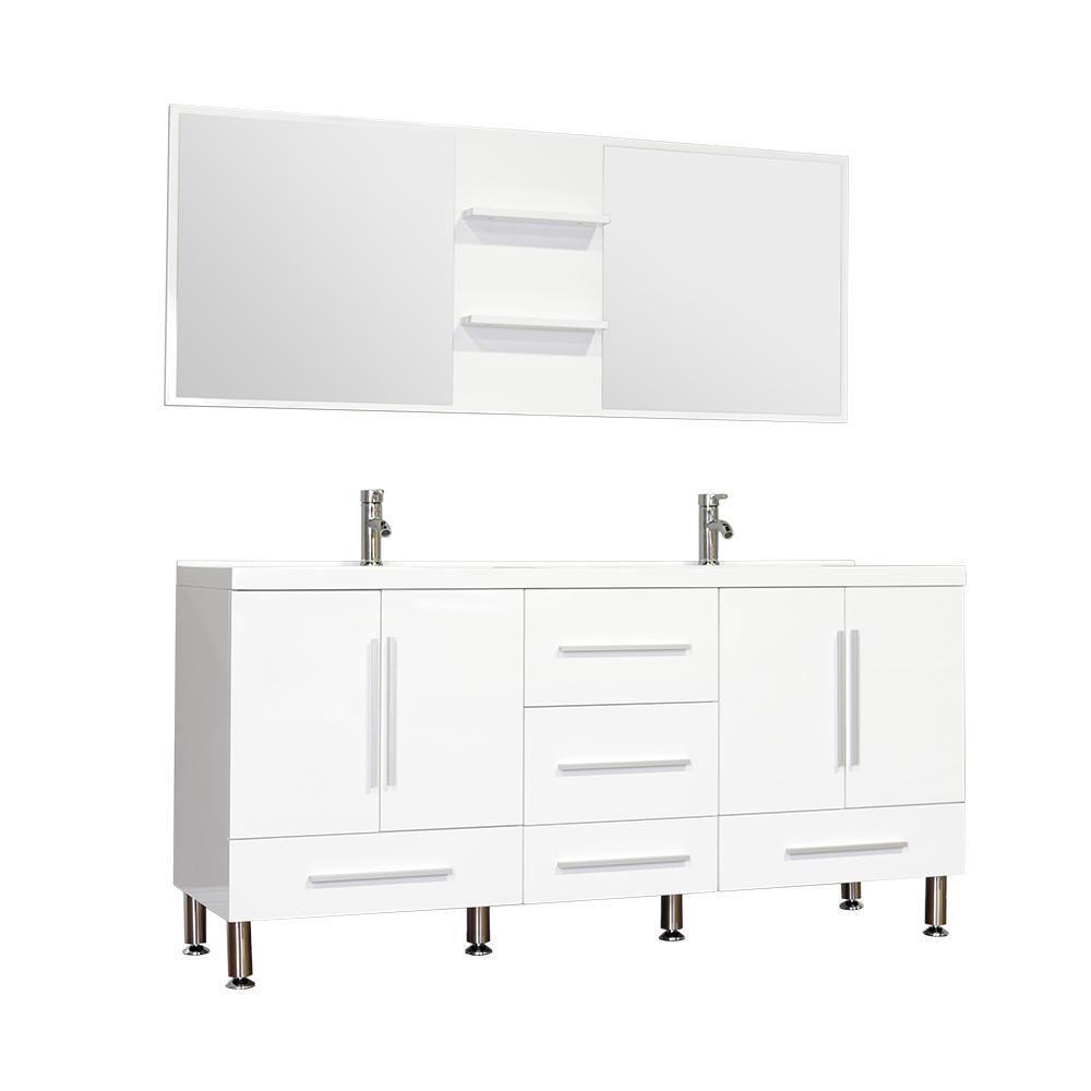 Ripley 67.12 in. W x 20.65 in. D x 33.37 in. H Vanity in White with Acrylic Vanity Top in White with White Basin