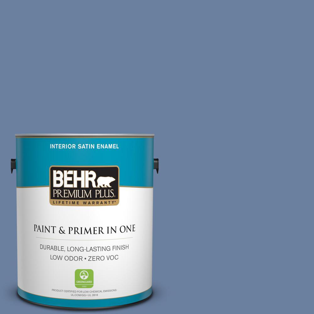 1-gal. #S530-5 Brisk Blue Satin Enamel Interior Paint