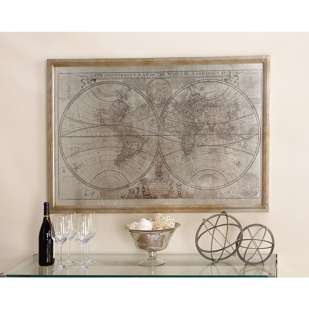 Litton Lane In X In LaidDown World Map By Uma Framed Wall - Iron world map wall art