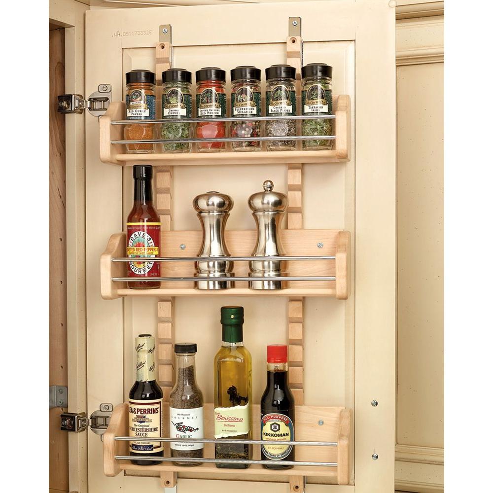 25 in. H x 13.125 in. W x 4 in. D Medium Cabinet Door Mount Wood Adjustable 3-Shelf Spice Rack