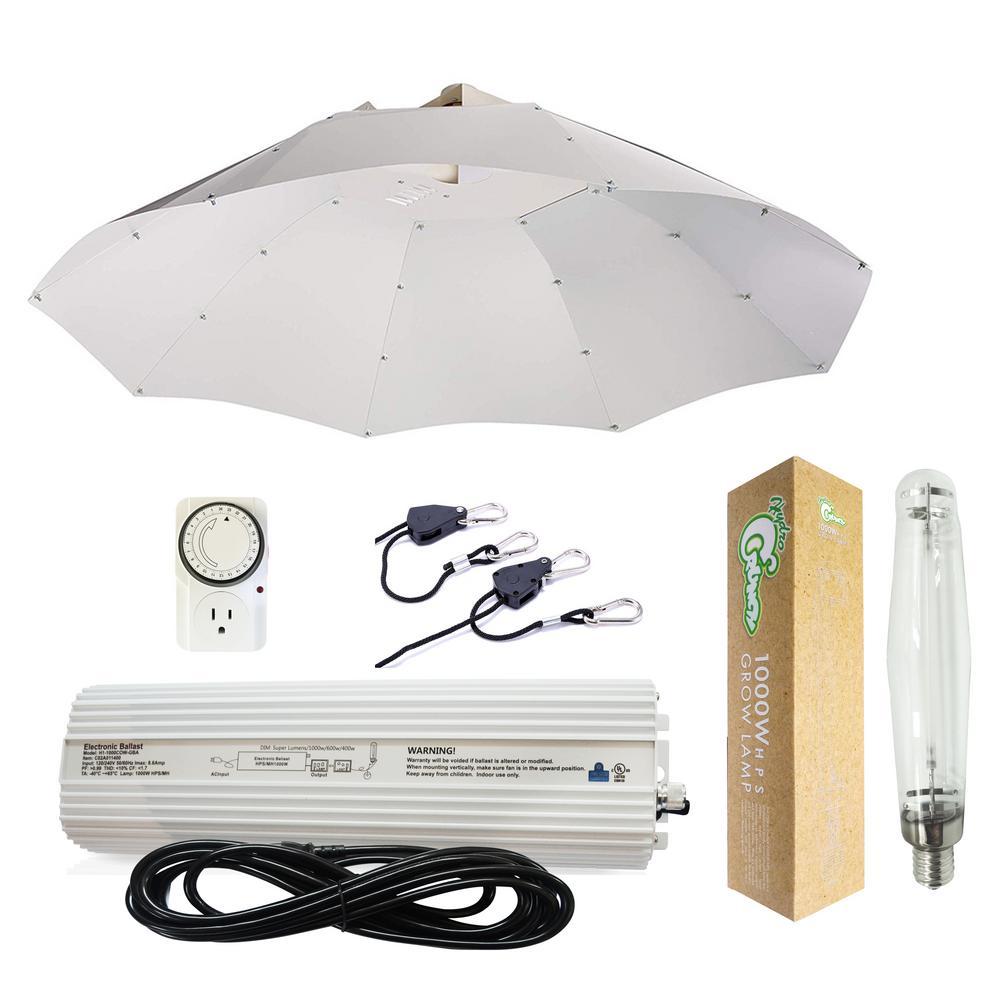 Hydro Crunch 1000 Watt Hps Grow Light System With 42 In Parabolic Vertical Umbrella Hood Reflector
