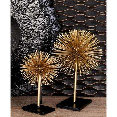 Round Iron Metal Gold Starburst Sculptures with Stand (Set of 3)