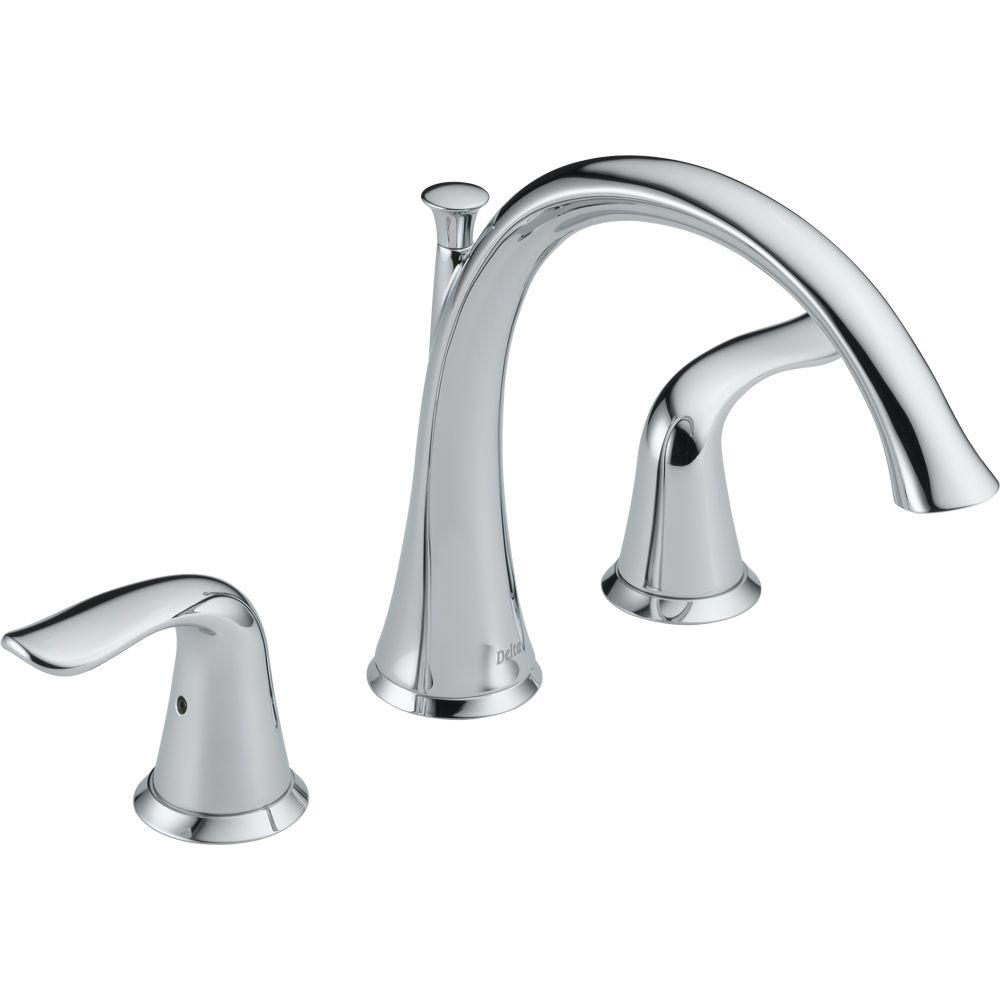 Delta Lahara 2-Handle Deck-Mount Roman Tub Faucet Trim Kit Only in Chrome (Valve Not Included)