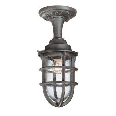 Wilmington Nautical Rust Outdoor Semi-Flushmount