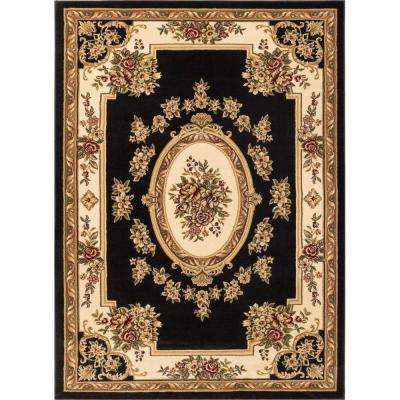 Timeless Le Petit Palais Black 7 ft. x 9 ft. Traditional Classical Area Rug
