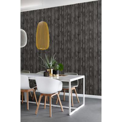 56.4 sq. ft. Azelma Charcoal Wood Strippable Wallpaper