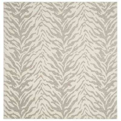Marbella Light Gray/Ivory 6 ft. x 6 ft. Square Area Rug