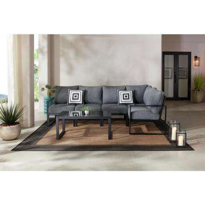 Barclay 6-Piece Black Steel Outdoor Patio Sectional Sofa Set with Gray Cushions and Coffee Table