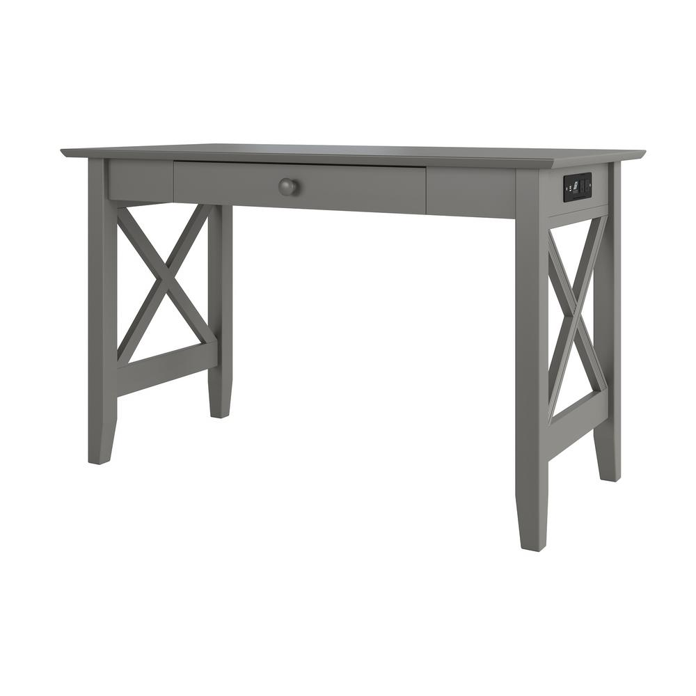 . Atlantic Furniture Lexi Grey Desk with Drawer and Charger AH12249