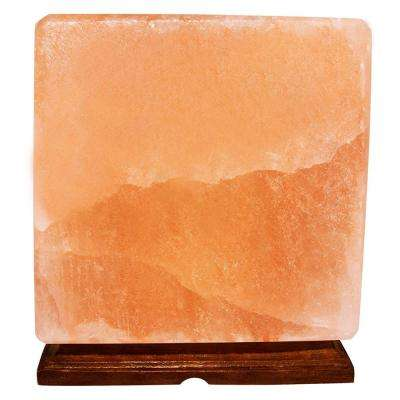 Himalayan Crystal Rock Salt 6 in. Pink Cube Shape Lamp with Wood Base Electric Wire and Bulb
